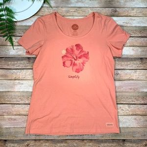 Life is Good Women's Med Simplify Hibiscus Script